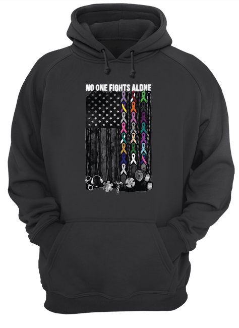 No one fights alone Breast Cancer Awareness Unisex Hoodie