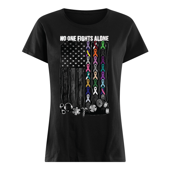 No one fights alone Breast Cancer Awareness Women's Shirt