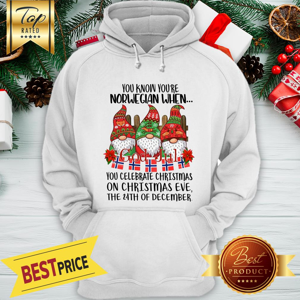 Official Gnome You Know You're Norwegian God Jul Christmas 24th December Hoodie