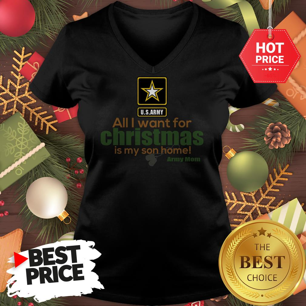 Official Army Mom All I Want For Christmas Is My Son Home V-Neck