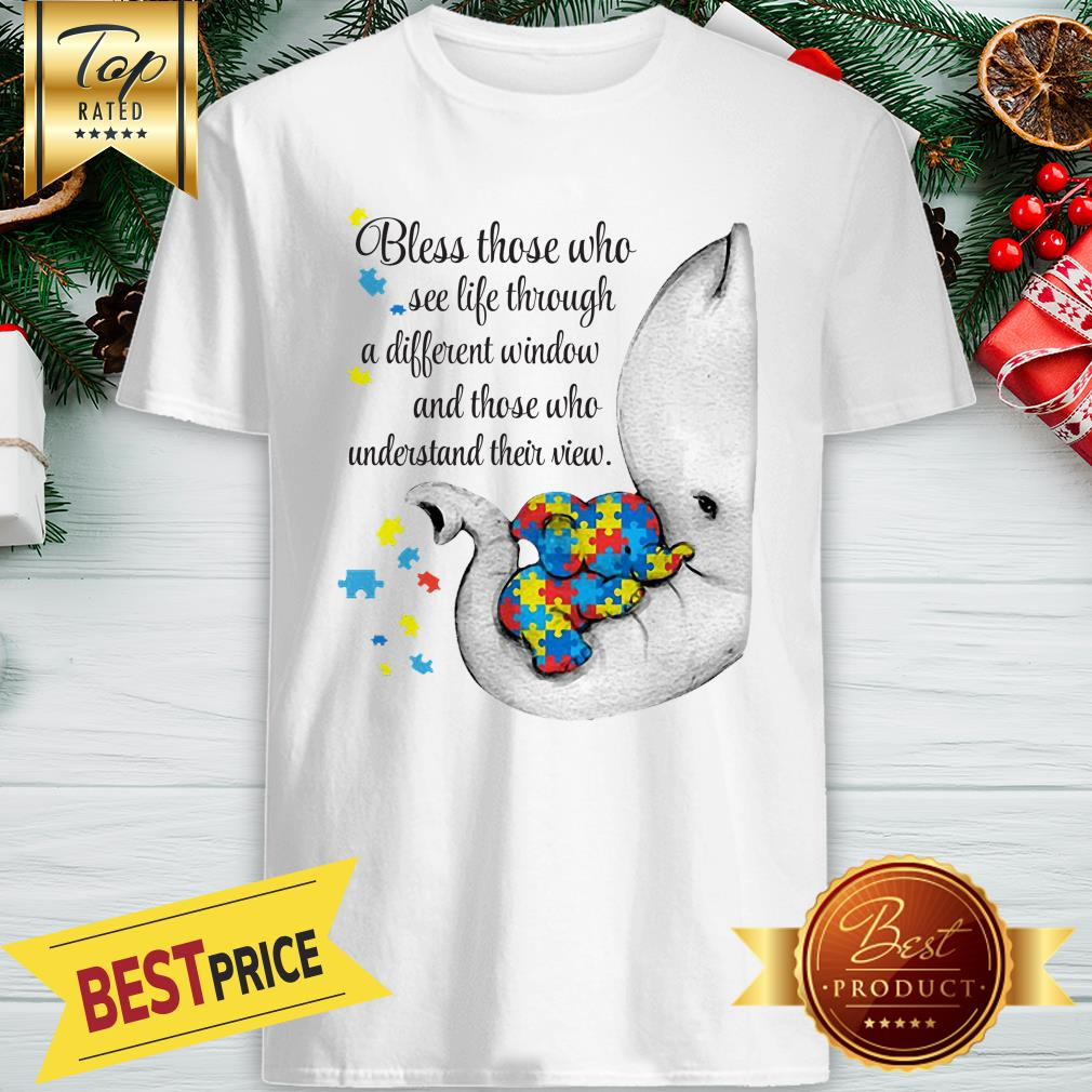 Official Autism Puzzle Elephants Bless Those Who See Life Through Window Shirt