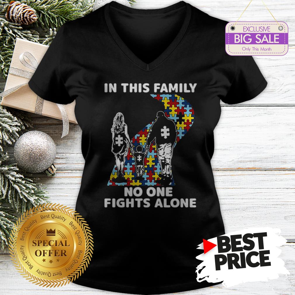 Official Autism Road In This Family No One Fights Alone V-Neck