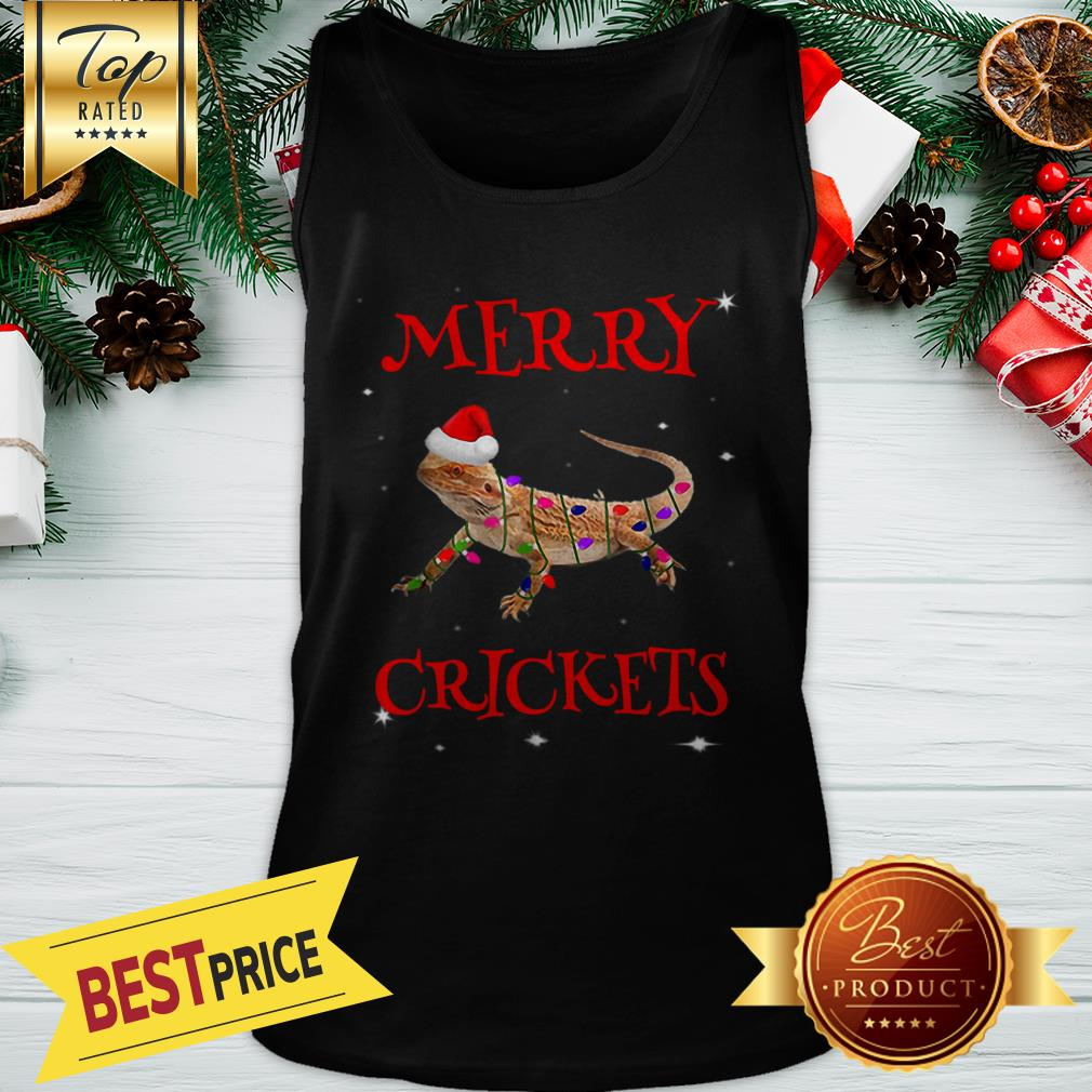 Official Bearded Dragon Merry Crickets Christmas Tank Top