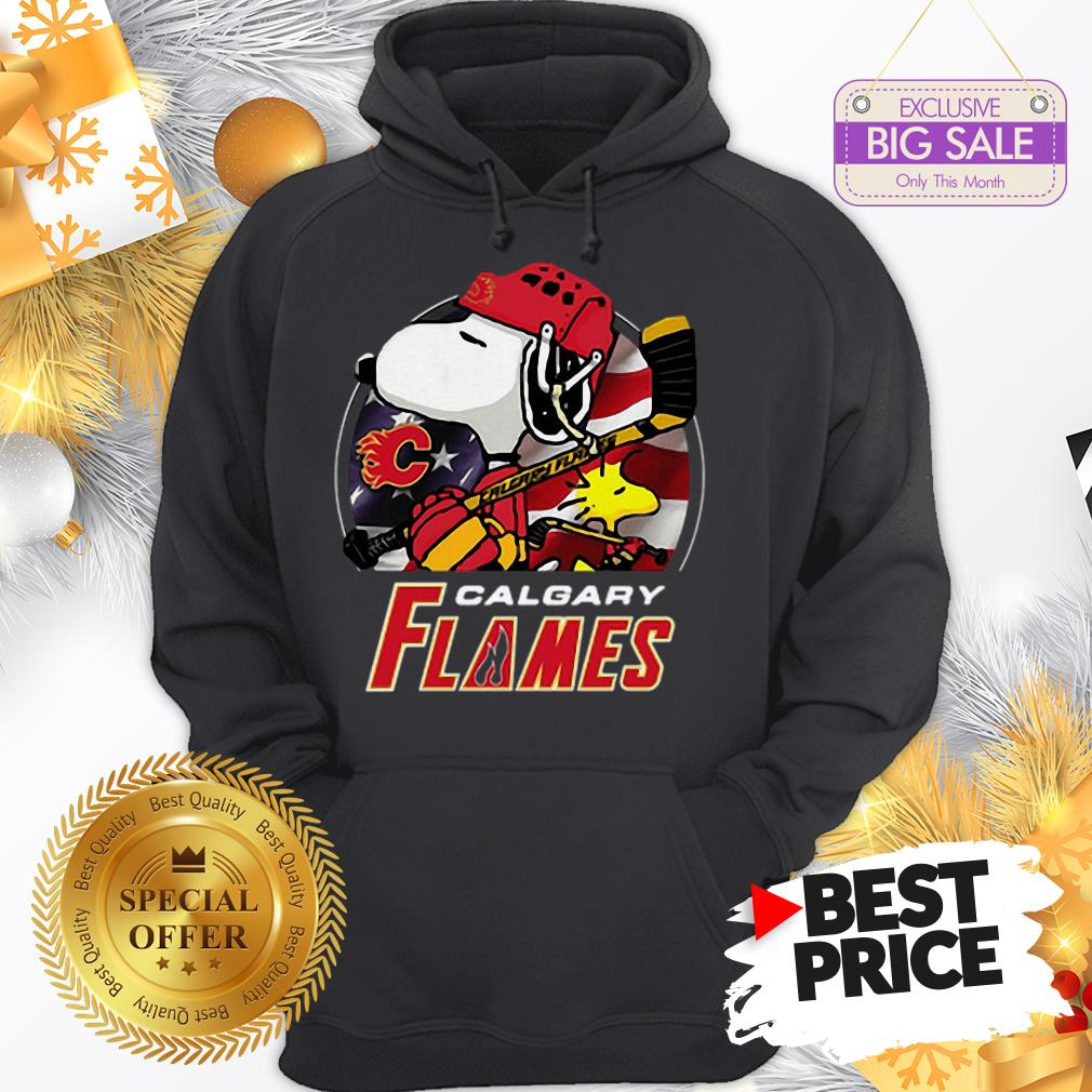 Official Calgary Flames Ice Hockey Snoopy And Woodstock Funny Hoodie