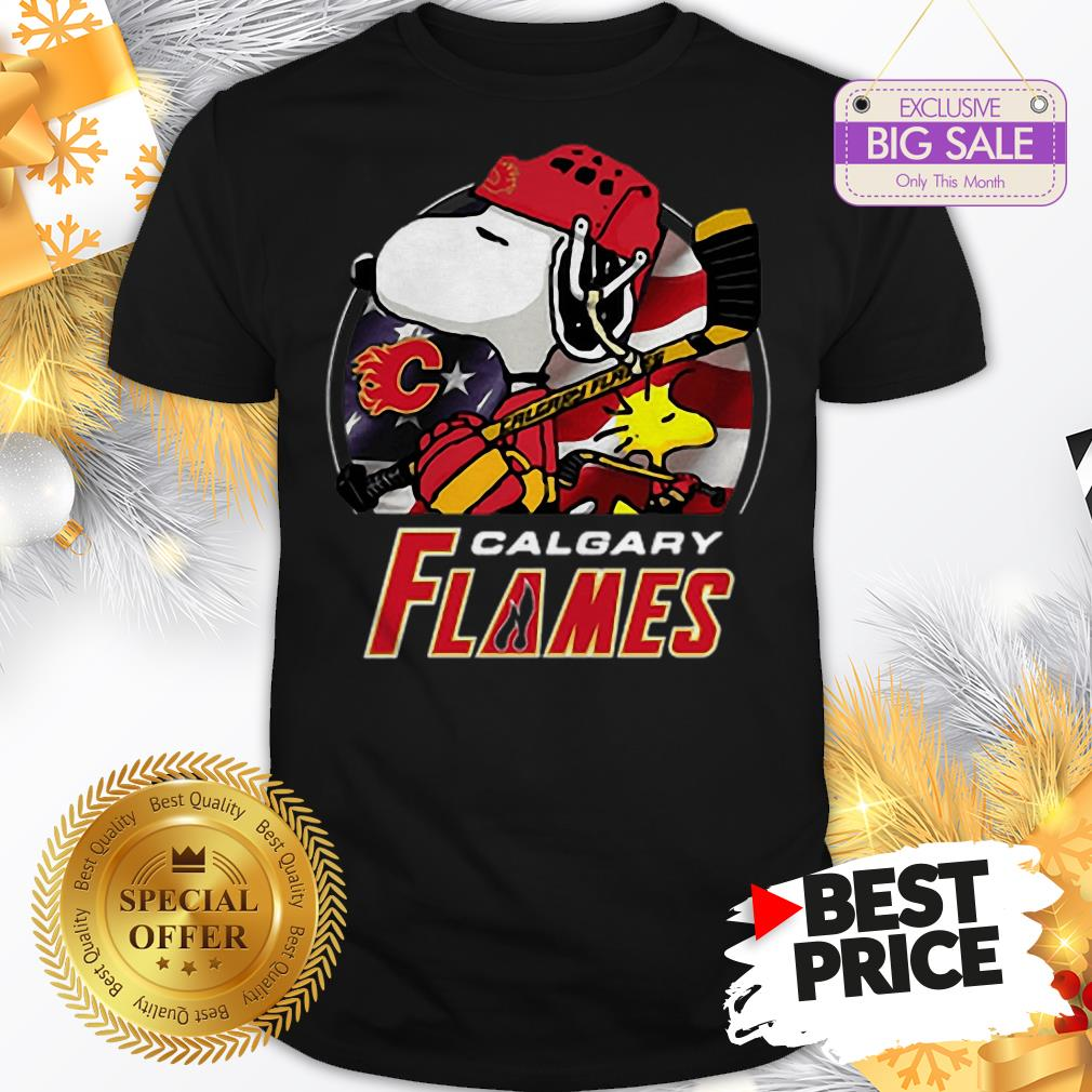 Official Calgary Flames Ice Hockey Snoopy And Woodstock Funny Shirt