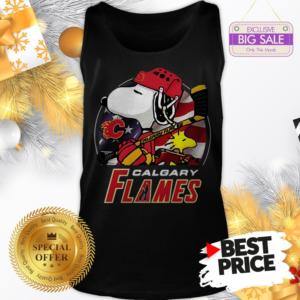 Official Calgary Flames Ice Hockey Snoopy And Woodstock Funny Tank Top