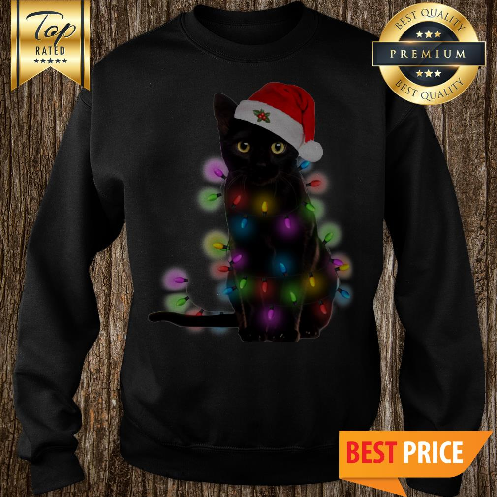 Official Christmas Light Black Cat Sweatshirt