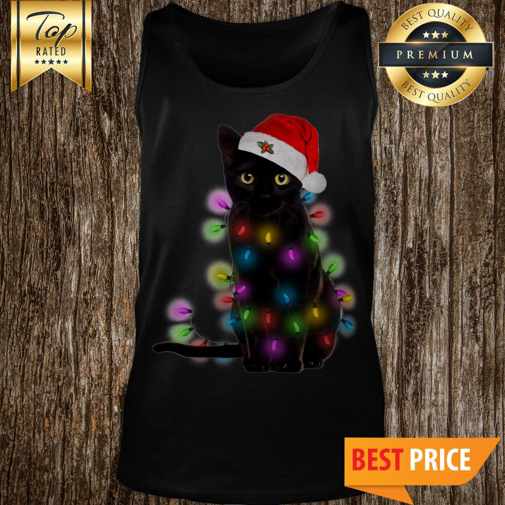 Official Christmas Light Black Cat Tank Top