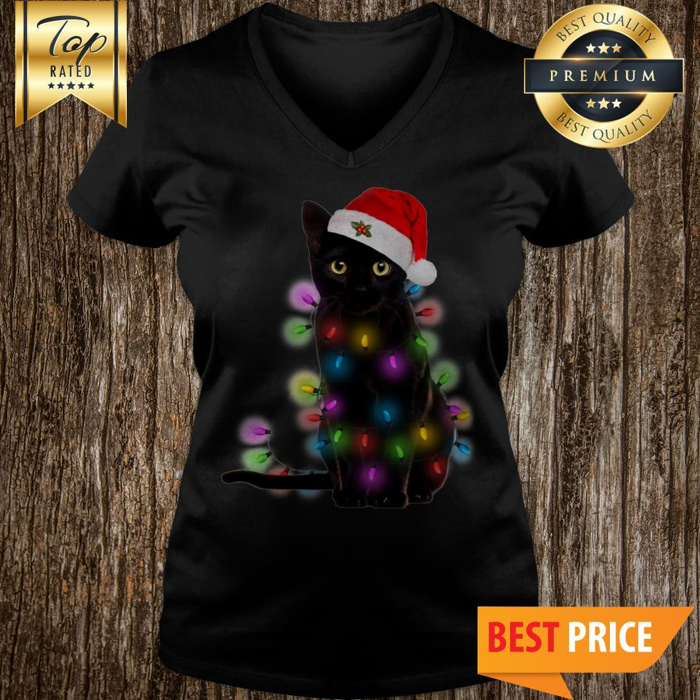 Official Christmas Light Black Cat V-Neck