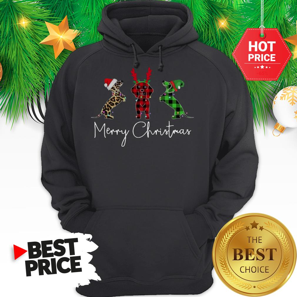 Official Dachshund Leopard Plaid Printed Merry Christmas Hoodie