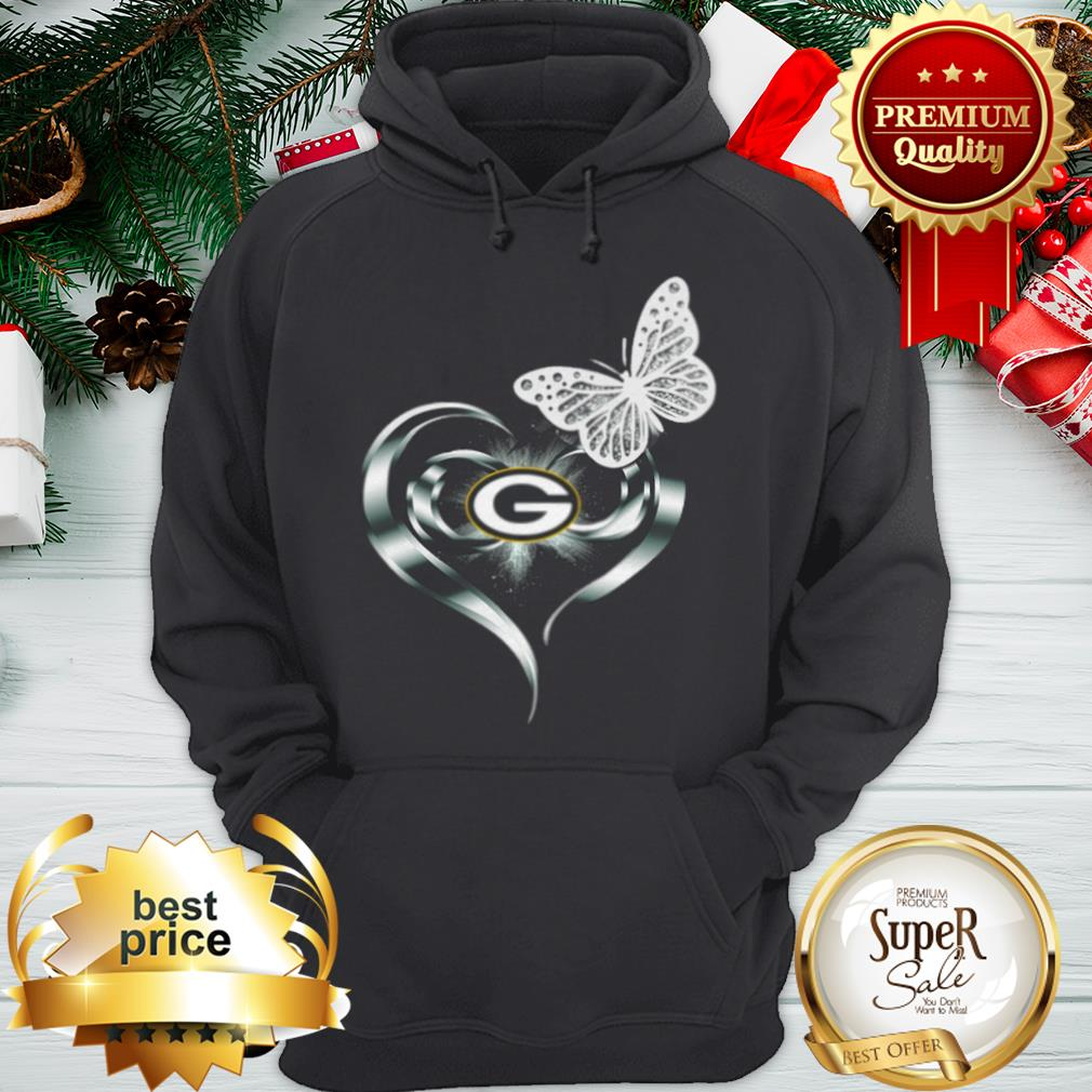Official Green Bay Packers Love Butterfly Heart Hoodie