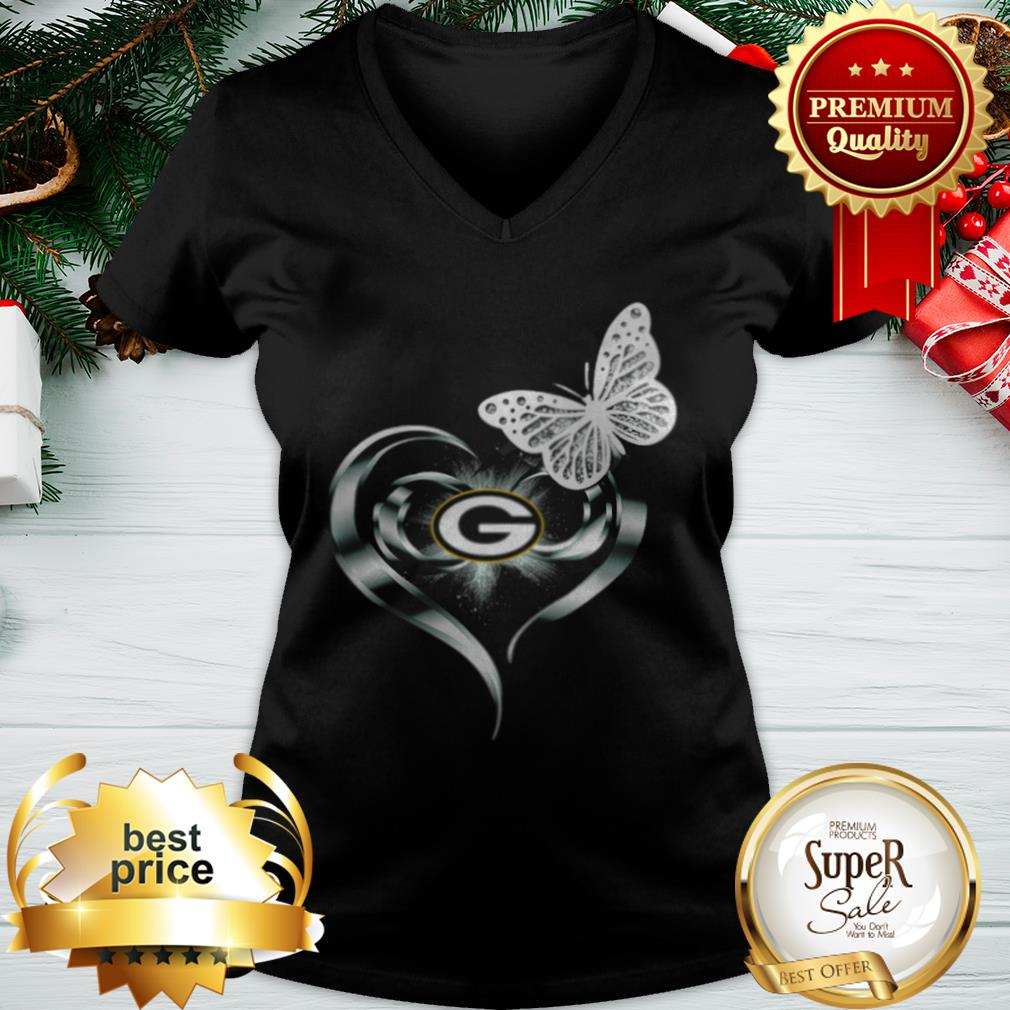 Official Green Bay Packers Love Butterfly Heart V-neck