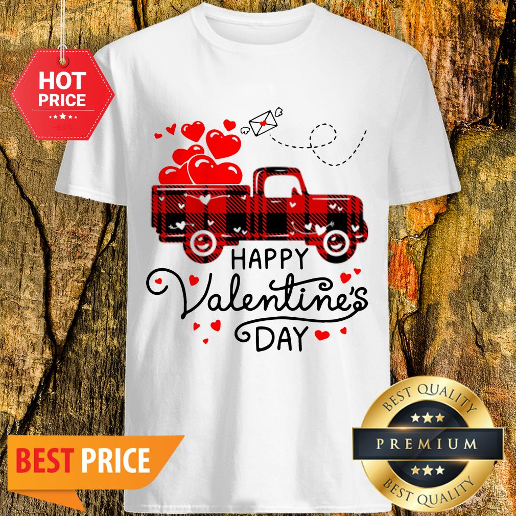 Official Happy Valentine's Day Heart Red Plaid Truck Shirt
