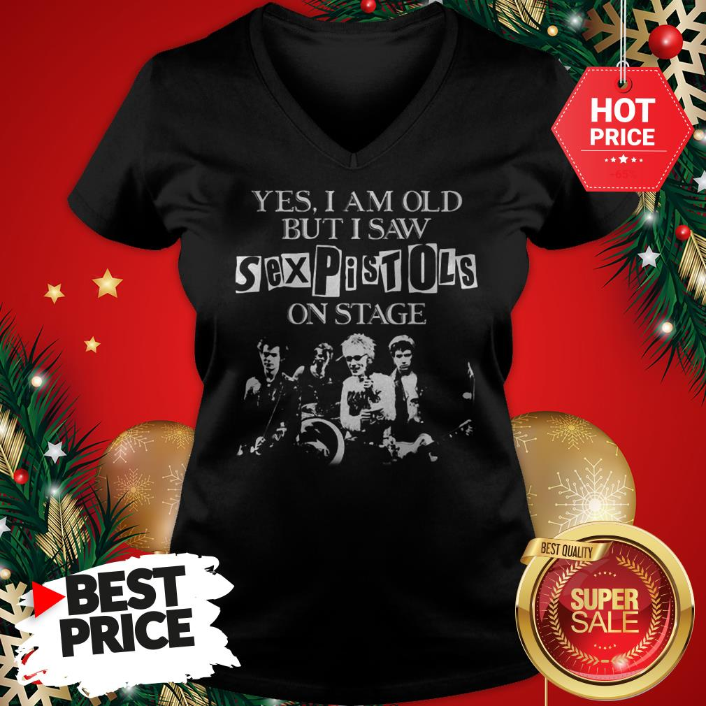 Official Hot Mens Yes I Am Old But I Saw Sex Pistols On Stage V-Neck