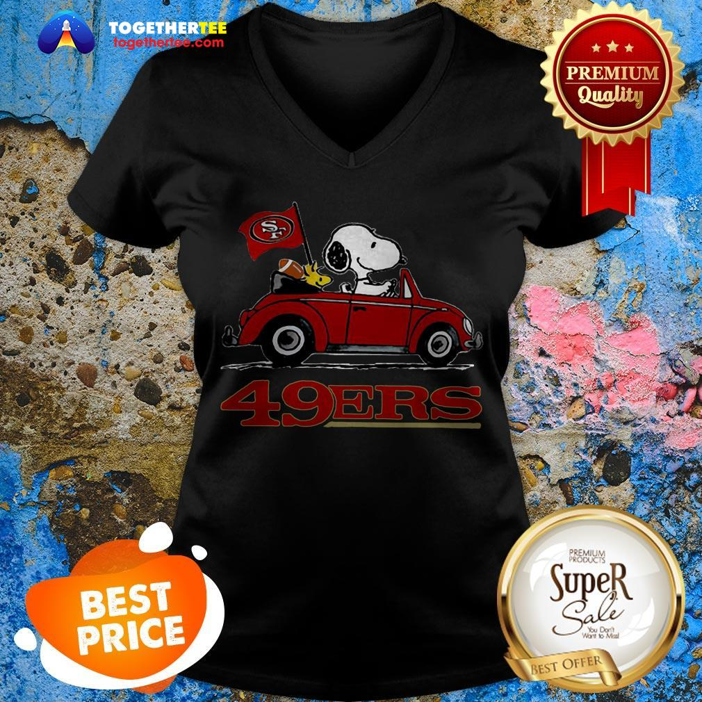 Official Snoopy Driving Volkswagen San Francisco 49ers V-neck