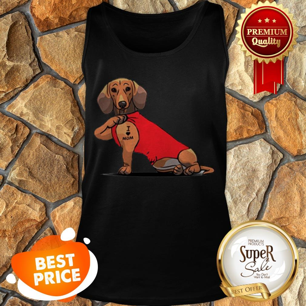 Official Tattoos Dachshund I Love Mom Tank Top