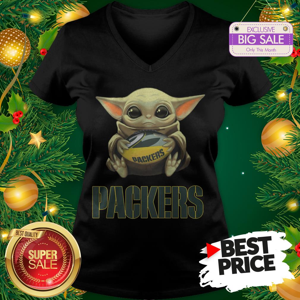 Official Top Baby Yoda Hug Green Bay Packer V-Neck