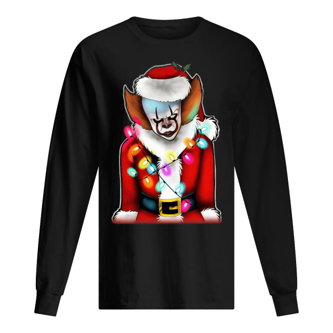 Pennywise Santa Claus Christmas lights IT Men's Long sleeved