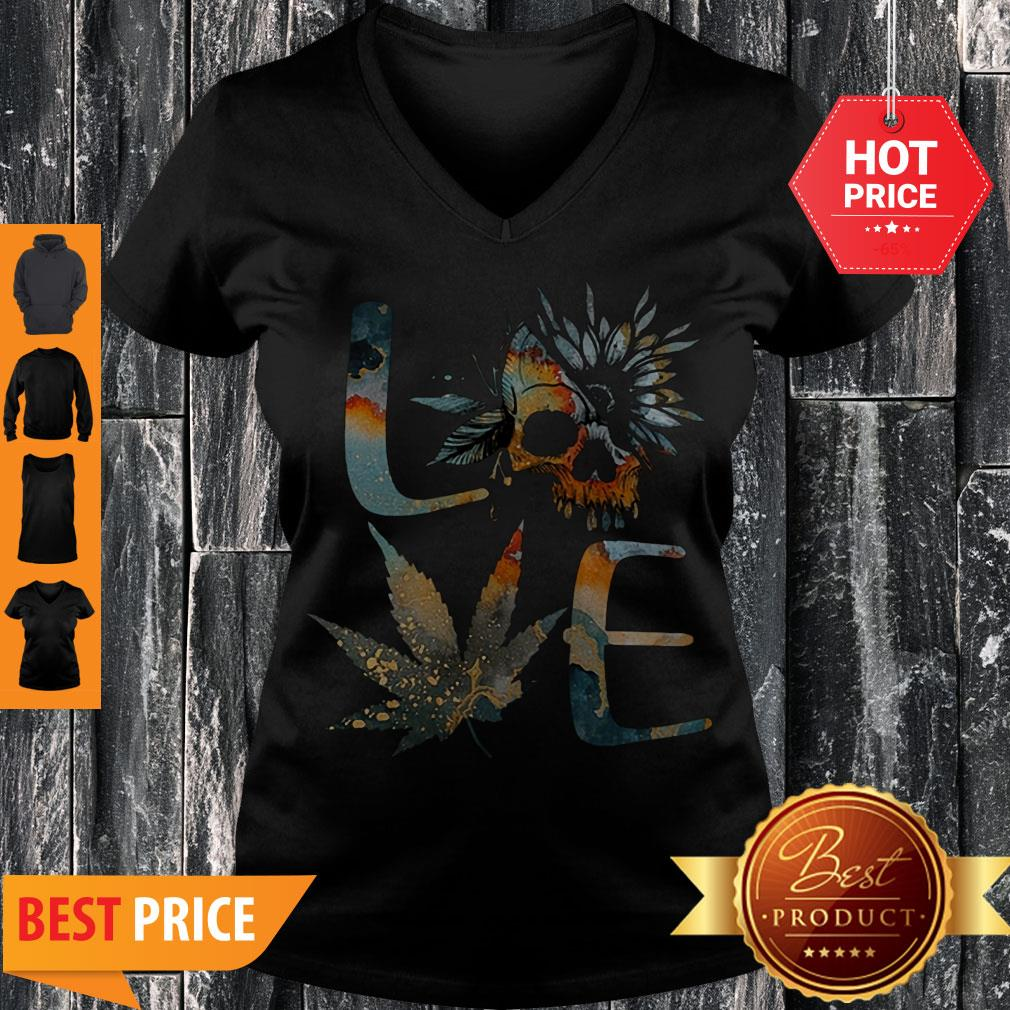 Perfect Love Skull Weed Sunflower Earth Day V-neck