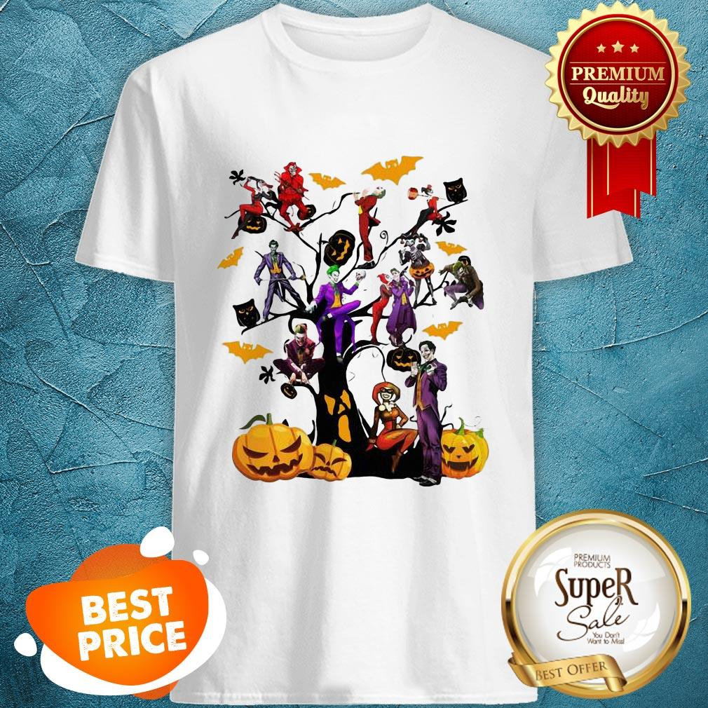 Pretty Joker And Harley Halloween Tree Shirt