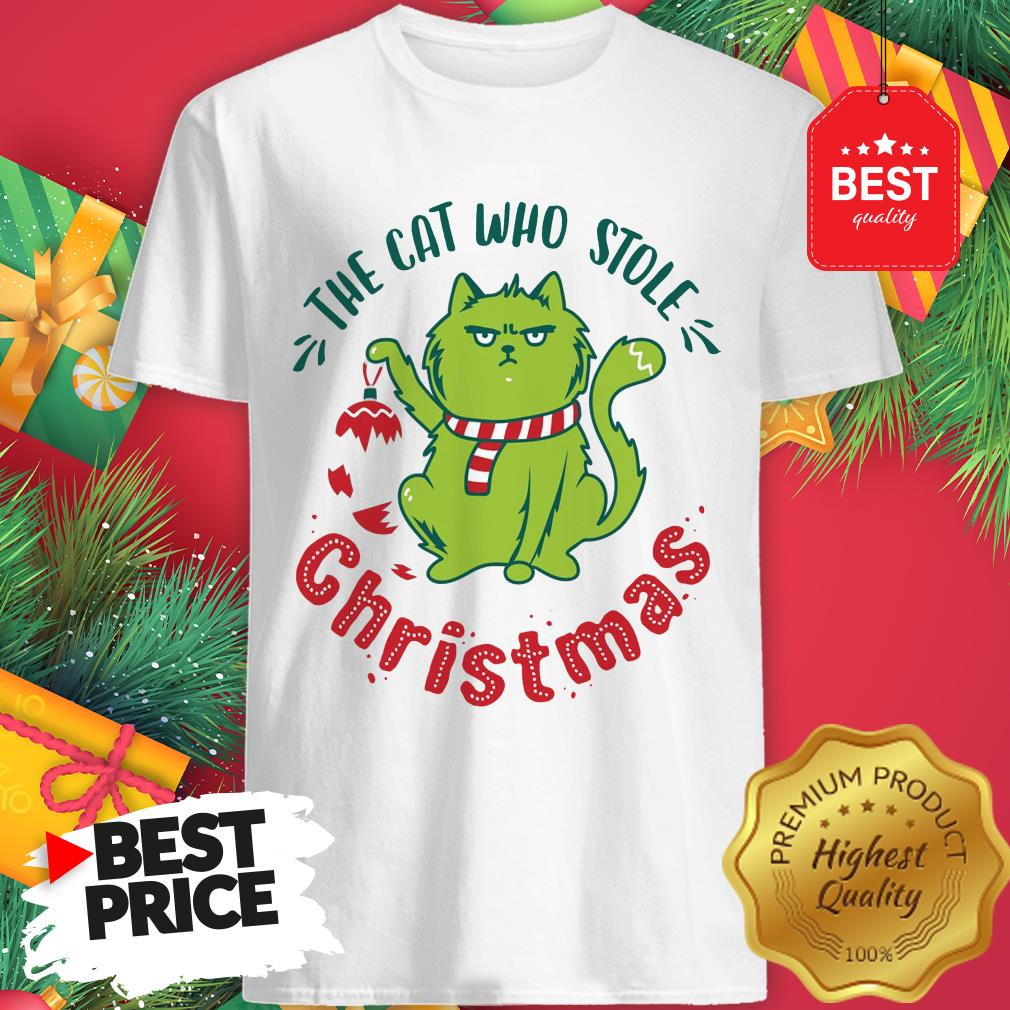 Pretty The Cat Who Stole Christmas Holiday Purresents Cartoon Funny Shirt