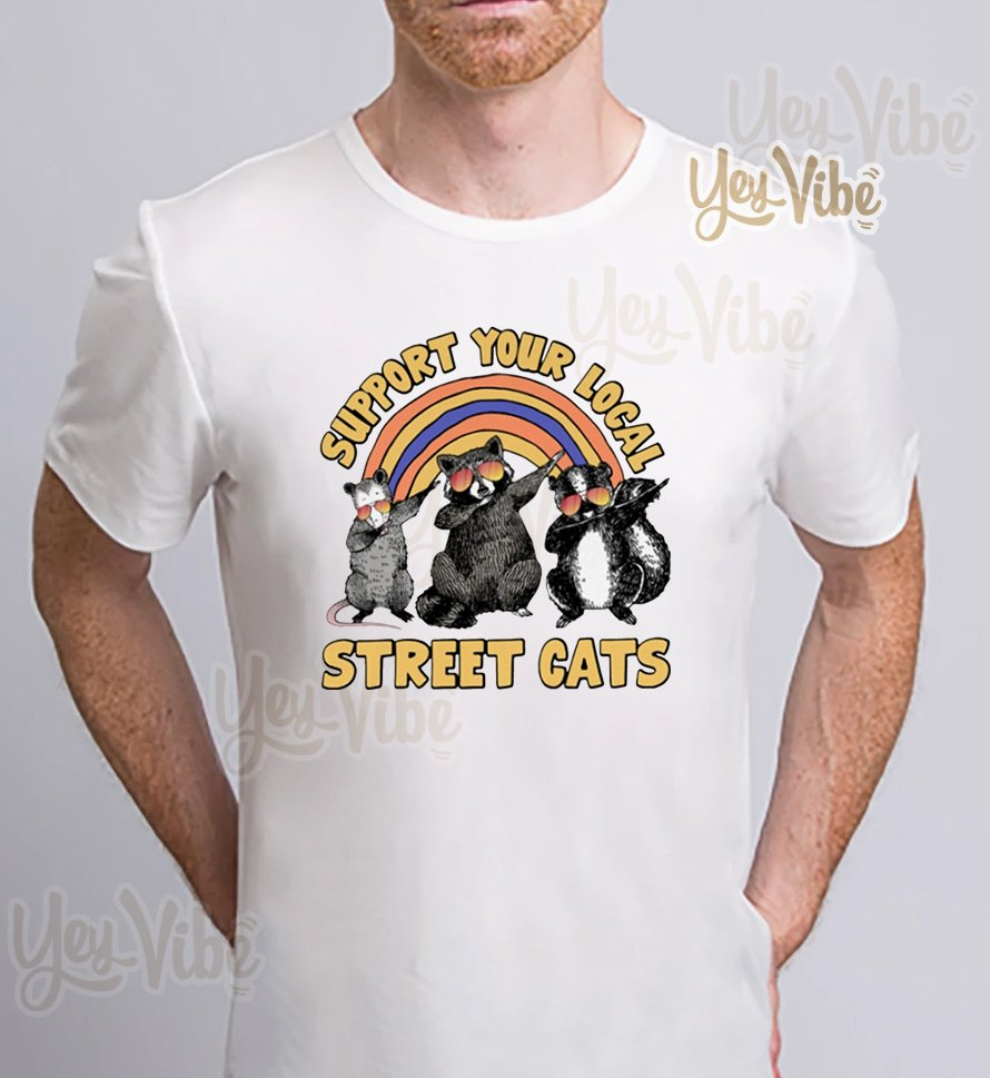 Raccoon dabbing support your local street cats t-shirts