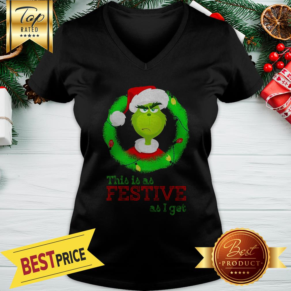 Santa Grinch This Is As Festive As I Get Christmas Lights V-neck