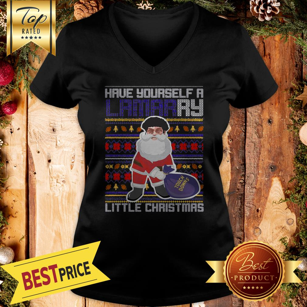 Santa Have Yourself A Lamarry Little Christmas Ugly V-neck