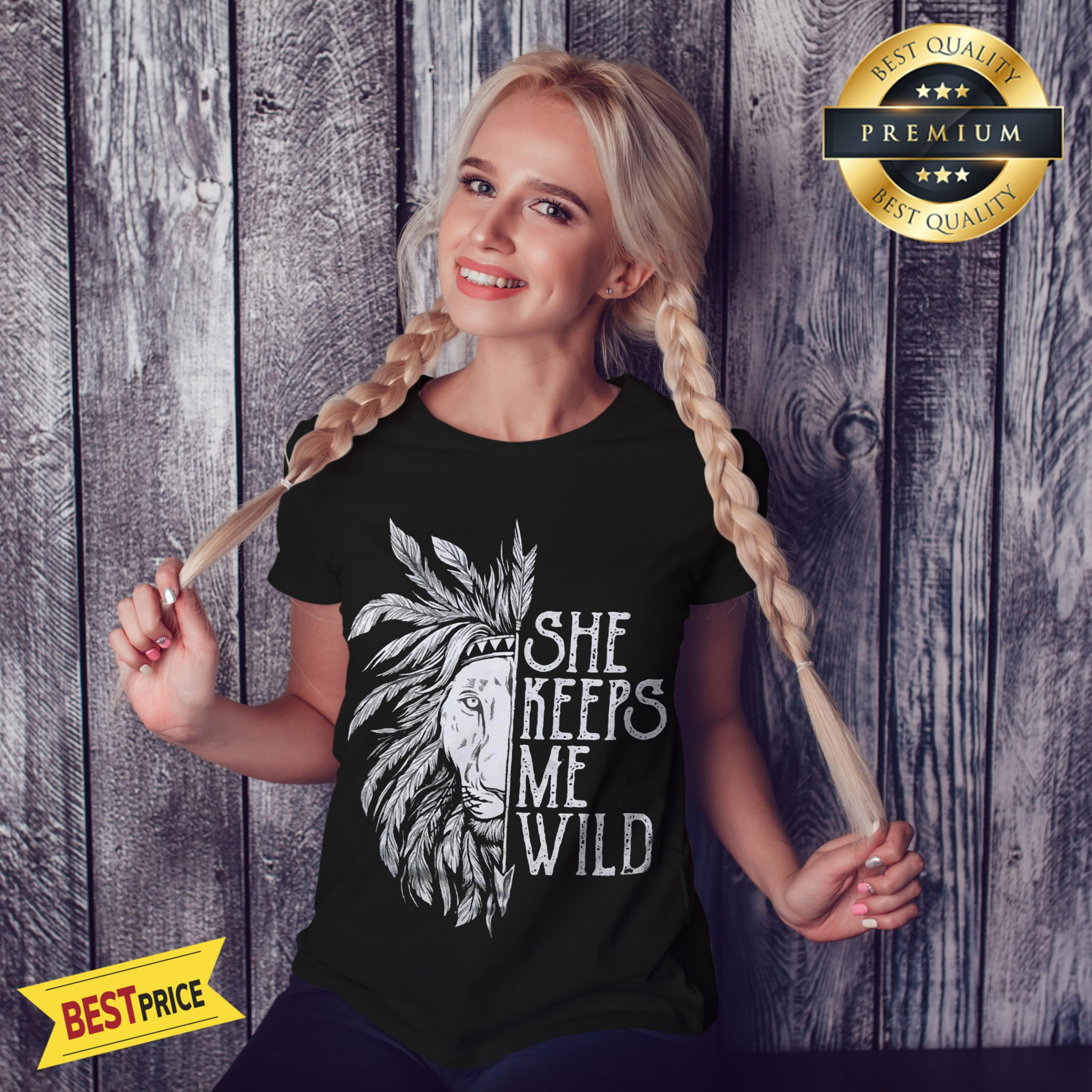 She Keeps Me Wild Lion Couple Matching Version Shirt