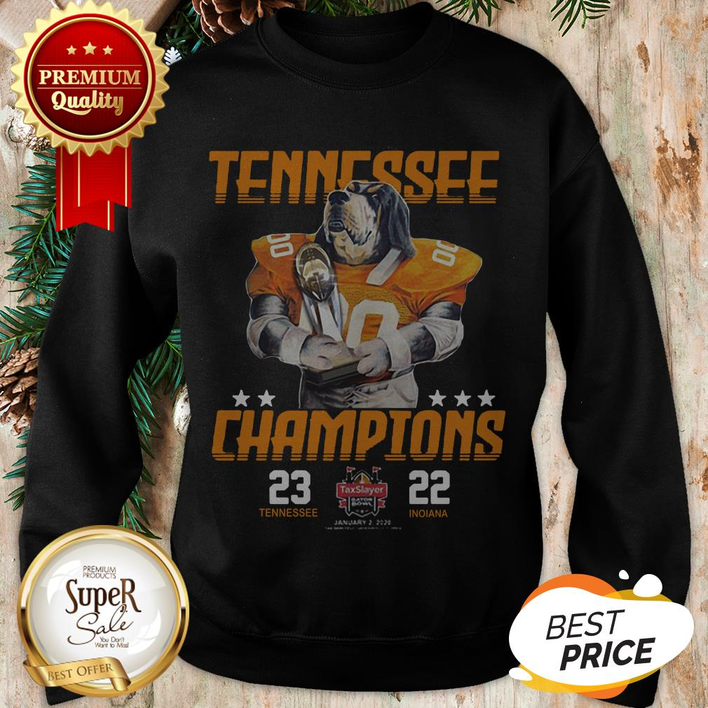 Tennessee Volunteers Champions TaxSlayer Gator Bowl Vs Indiana Sweatshirt