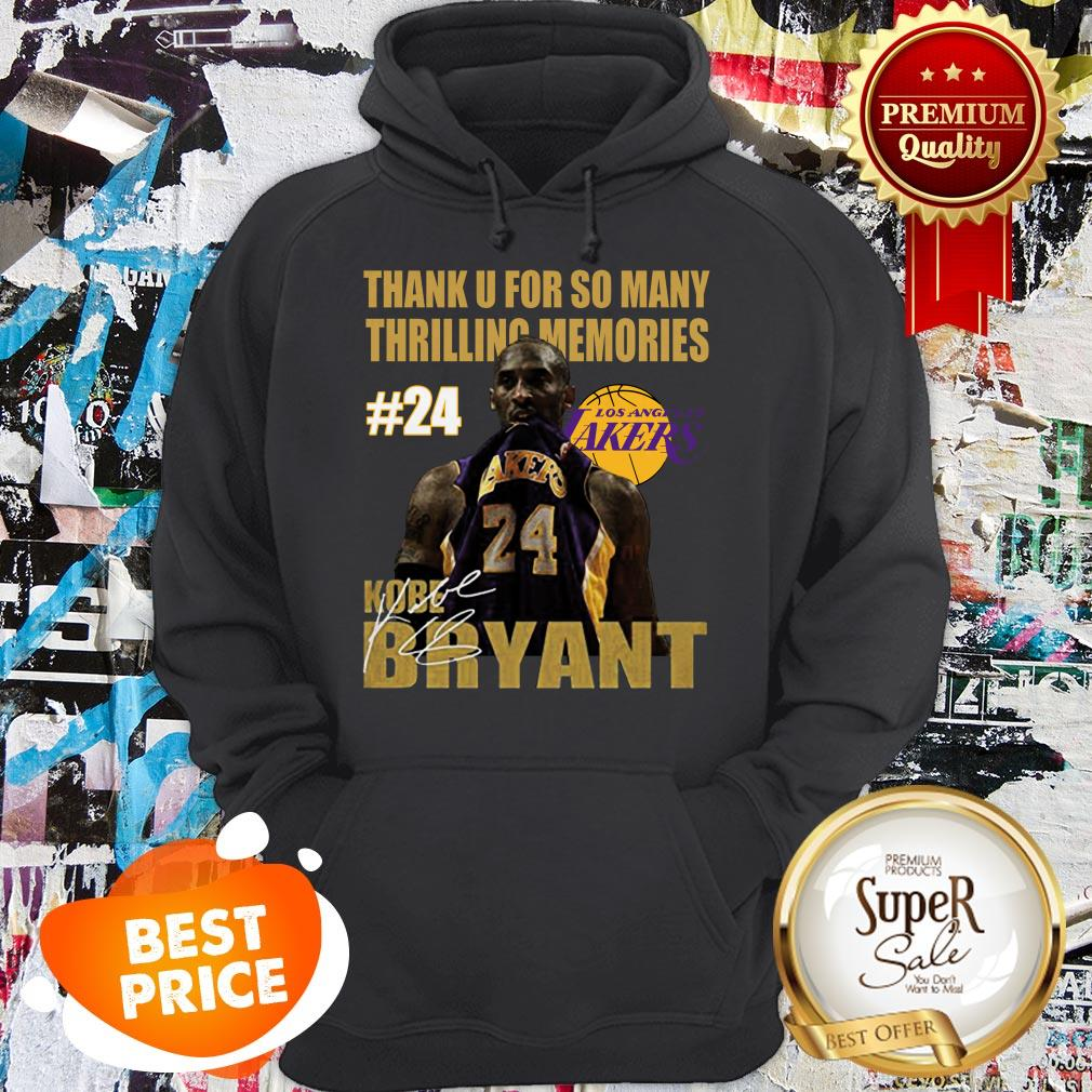 Thank U For So Many Thrilling Memories #24 Lakers Kobe Bryant Signed Hoodie