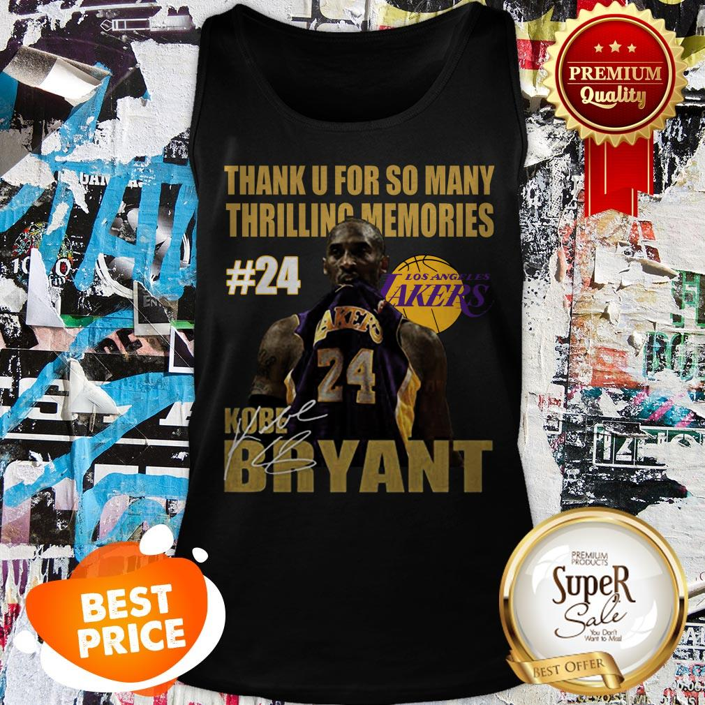 Thank U For So Many Thrilling Memories #24 Lakers Kobe Bryant Signed Tank Top