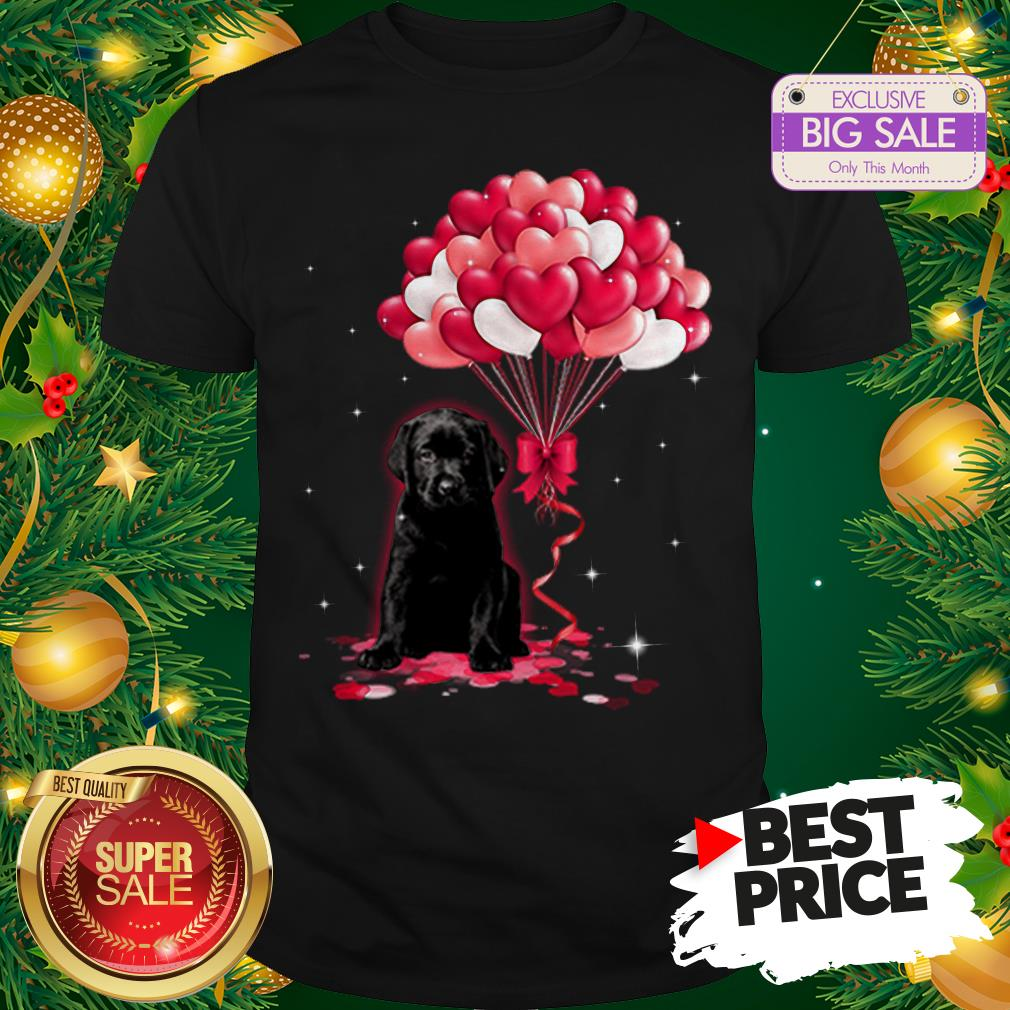 The Pretty Black Labrador Dog Love Balloons Heart Shirt