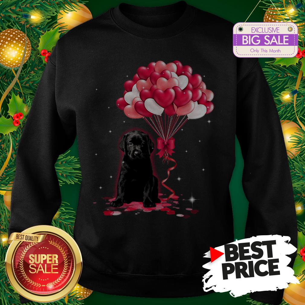 The Pretty Black Labrador Dog Love Balloons Heart Sweatshirt