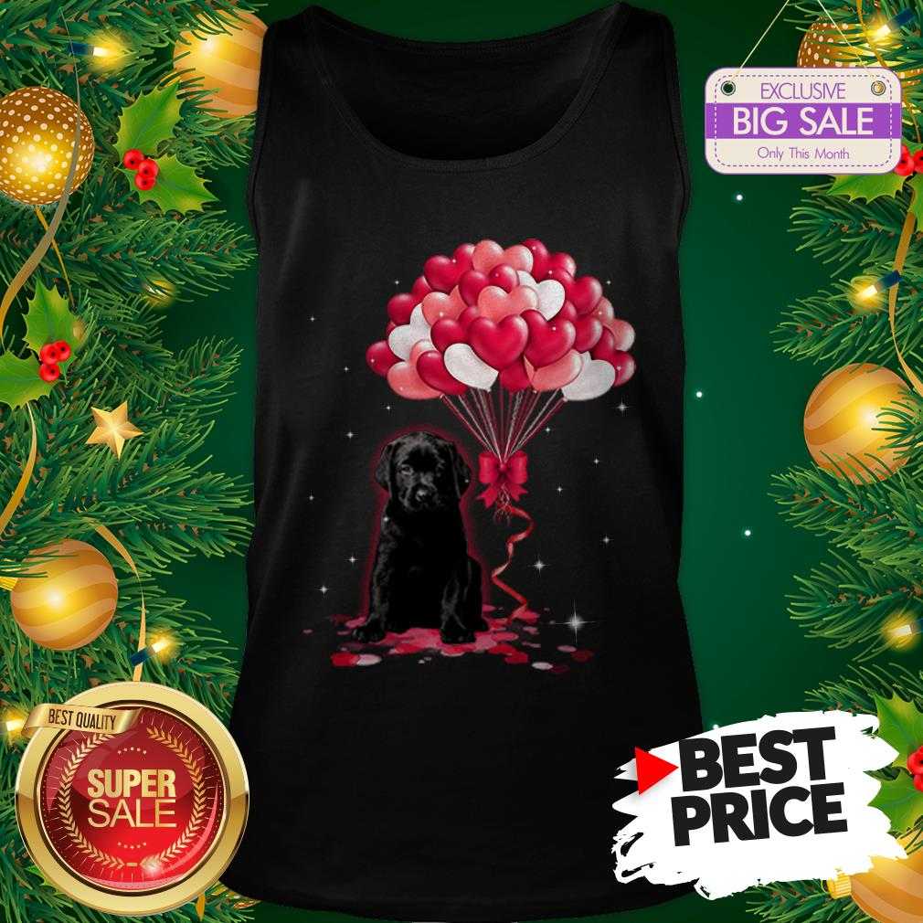 The Pretty Black Labrador Dog Love Balloons Heart Tank Top