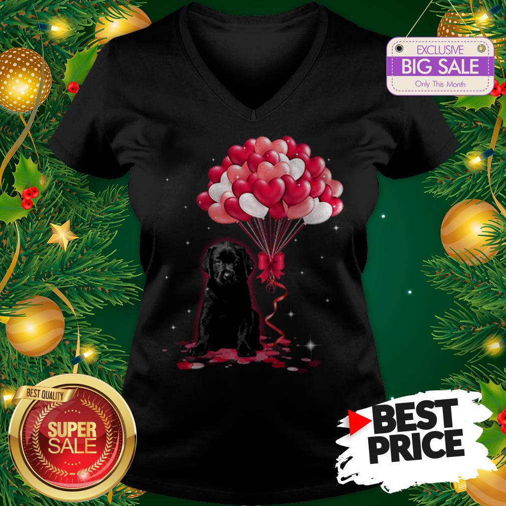 The Pretty Black Labrador Dog Love Balloons Heart V-neck