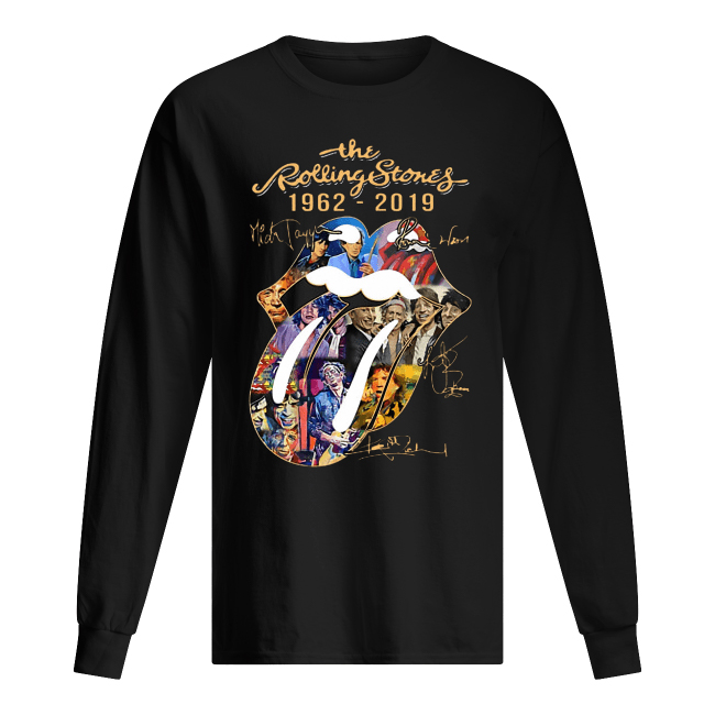 The Rolling Stones 1962-2019 Mick Jagger Ronnie Wood Signatures Men's Long Sleeved