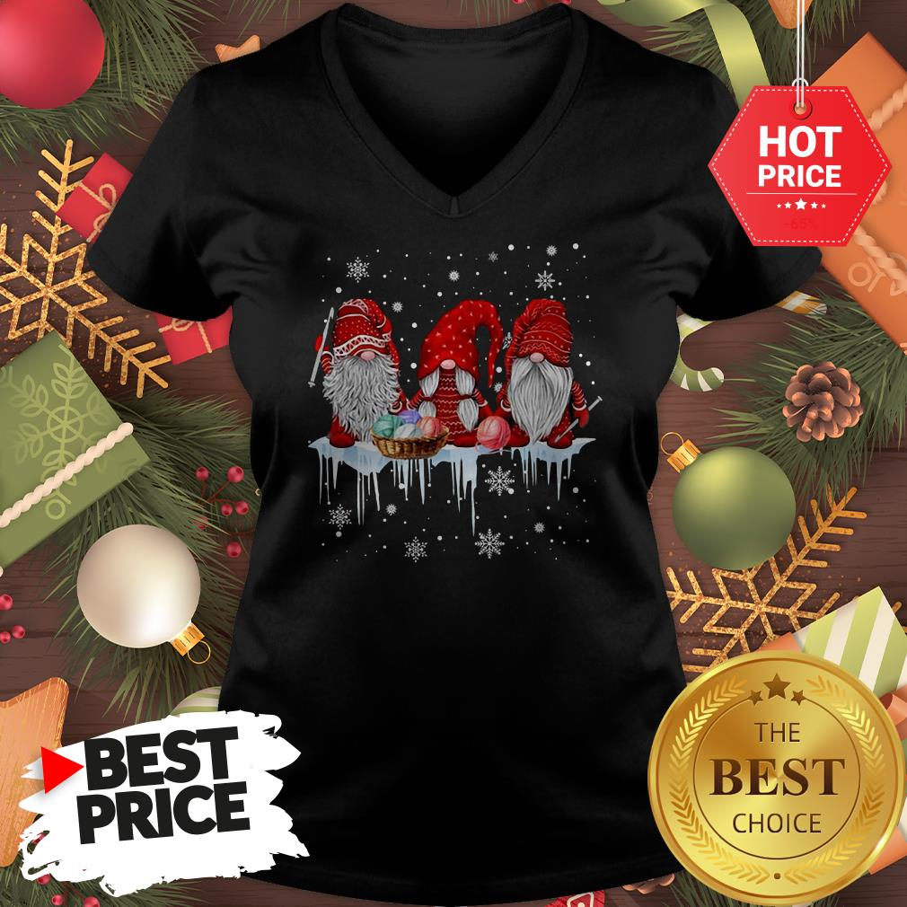 Three Gnomes Small In Red Costume Christmas Wonderful V-Neck