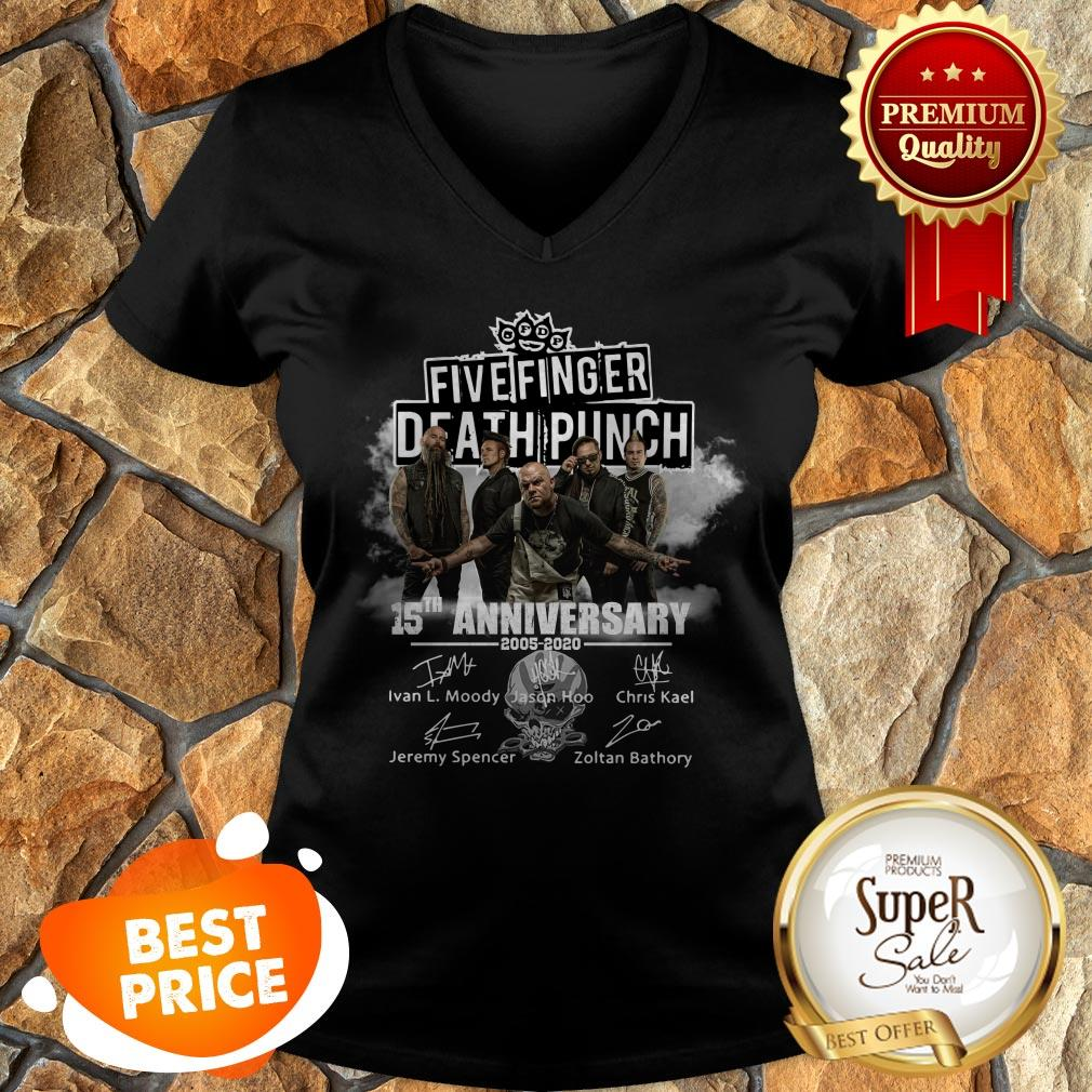Top Five Finger Death Punch 15th Anniversary 2005 2020 Signatures V-neck
