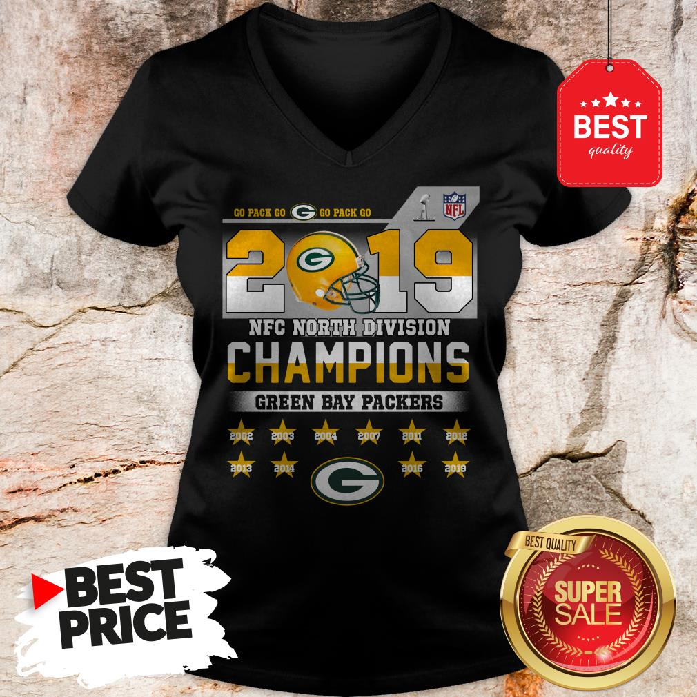 Top Go Pack Go 2019 NFC North Division Champions Green Bay Packers V-Neck