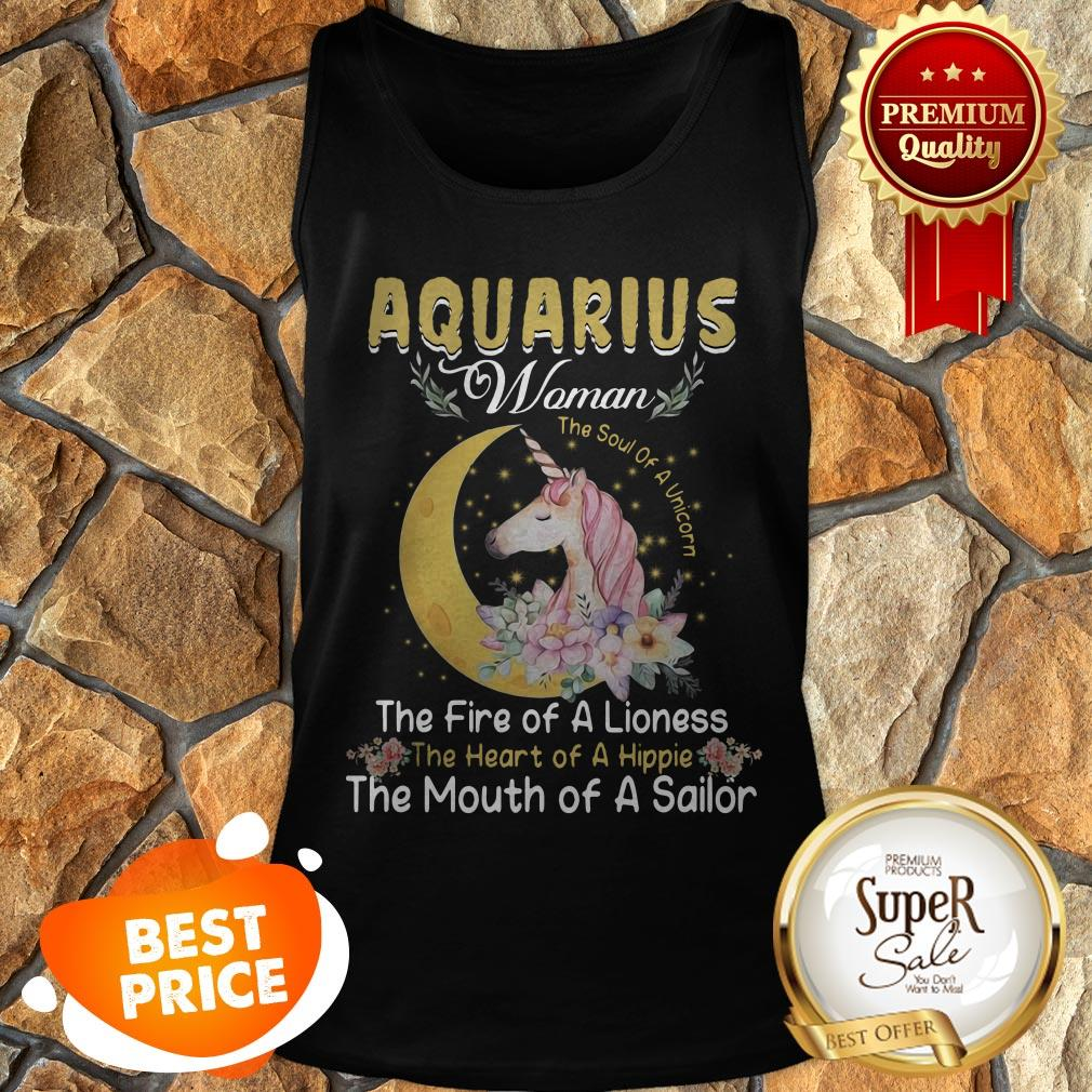 Unicorn Aquarius Woman The Soul Of A Unicorn The Fire Of A Lioness Tank Top