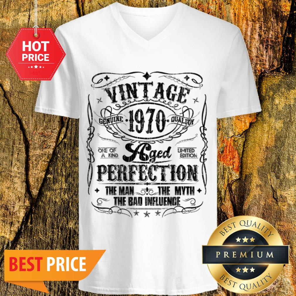 Vintage Genuine Quality 1970 Perfection The Man The Myth The Bad V-neck