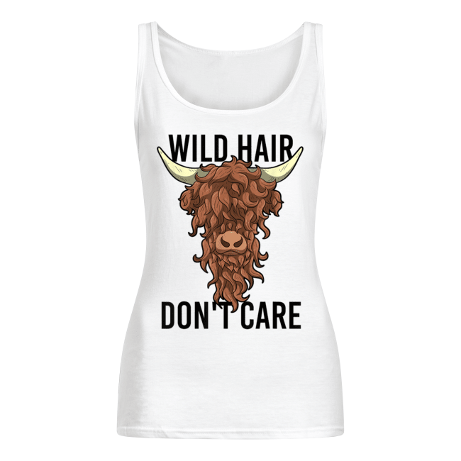 Wild Hair Don't Care T Shirt Funny Highland Cow Gift Womens Women's Tank Top
