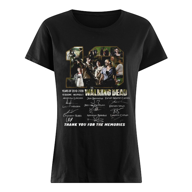 10 years of 2010 2020 10 seasons 146 episodes the walking dead thank you for the memories signatures  Classic Women's T-shirt