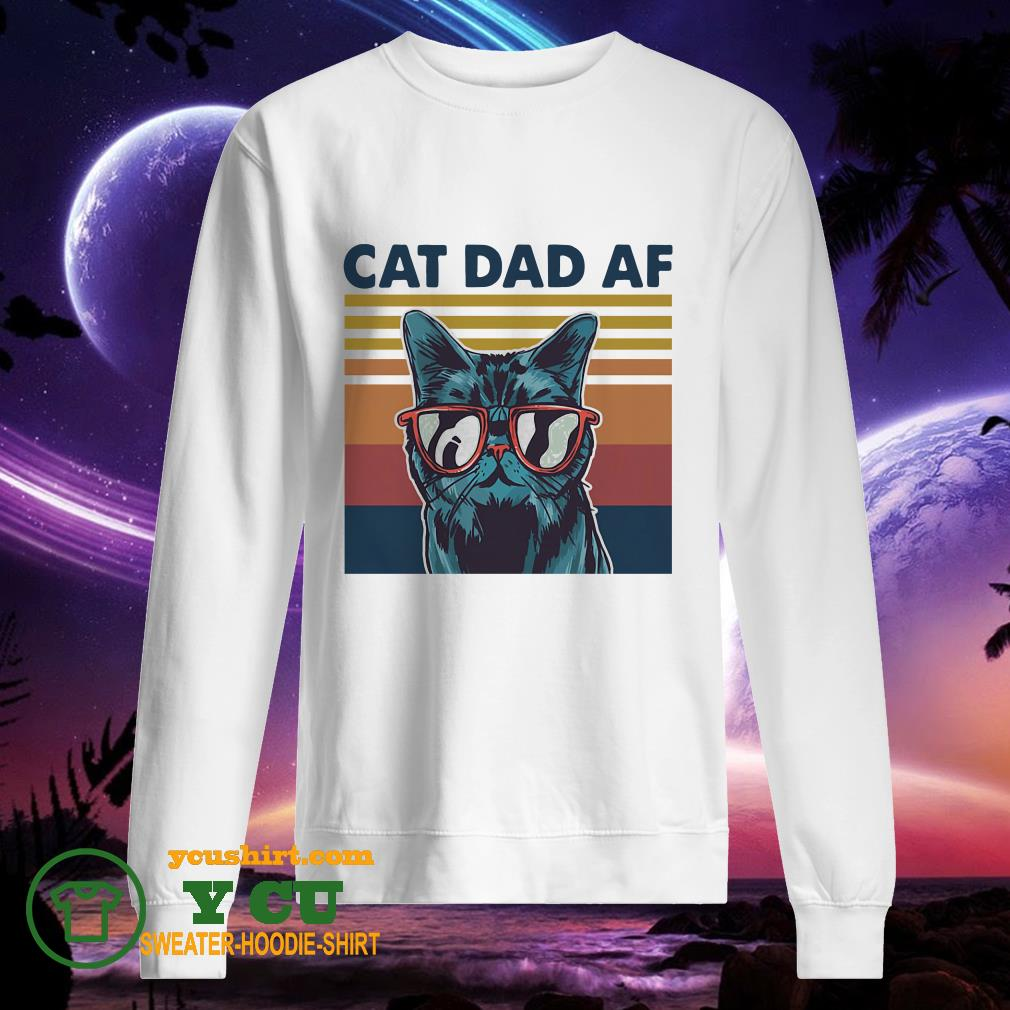 Cat dad af glasses vintage sweater
