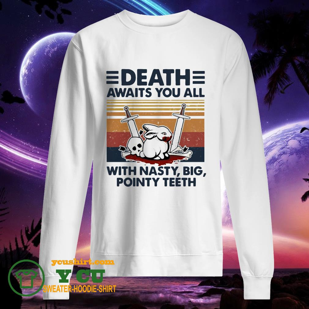 Death awaits you all with nasty big pointy teeth rabbit skull vintage sweater