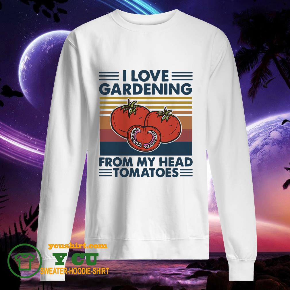 I love gardening from my head tomatoes vintage sweater