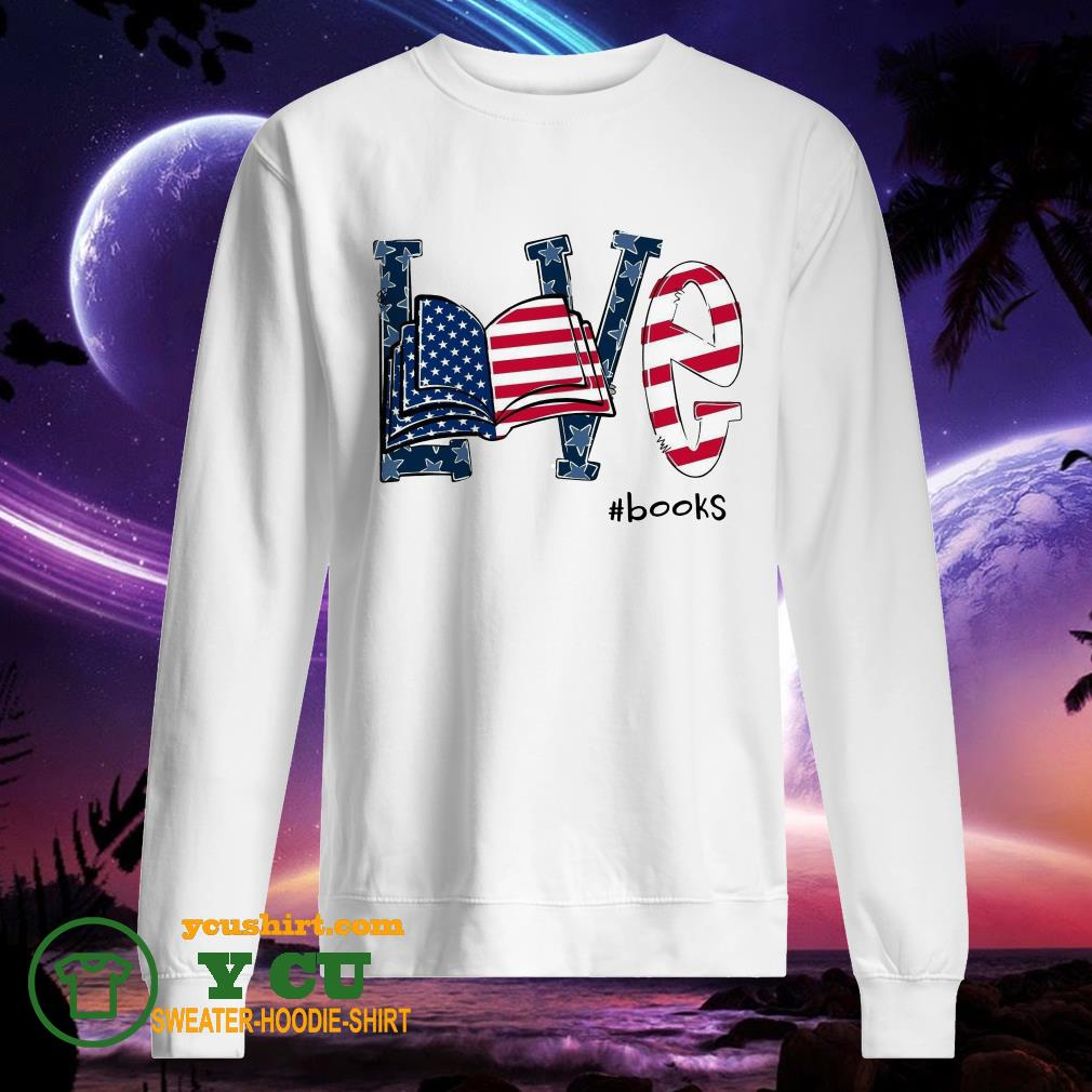 American Flag love books sweater
