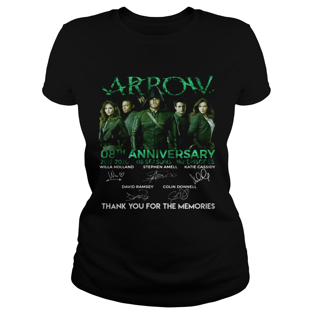 Arrow 08th anniversary 2012 2020 8 seasons 162 episodes thanks you for the memories signatures shir Classic Ladies