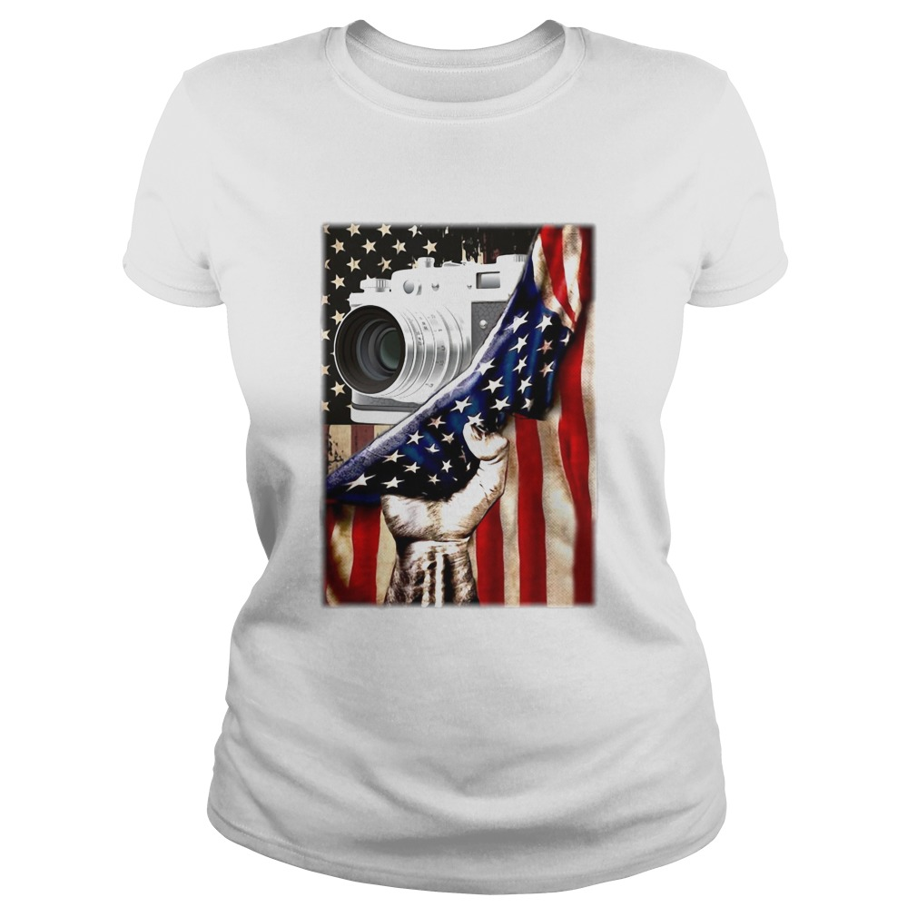 Camera Black Lives Matter American Flag Independence Day Classic Ladies